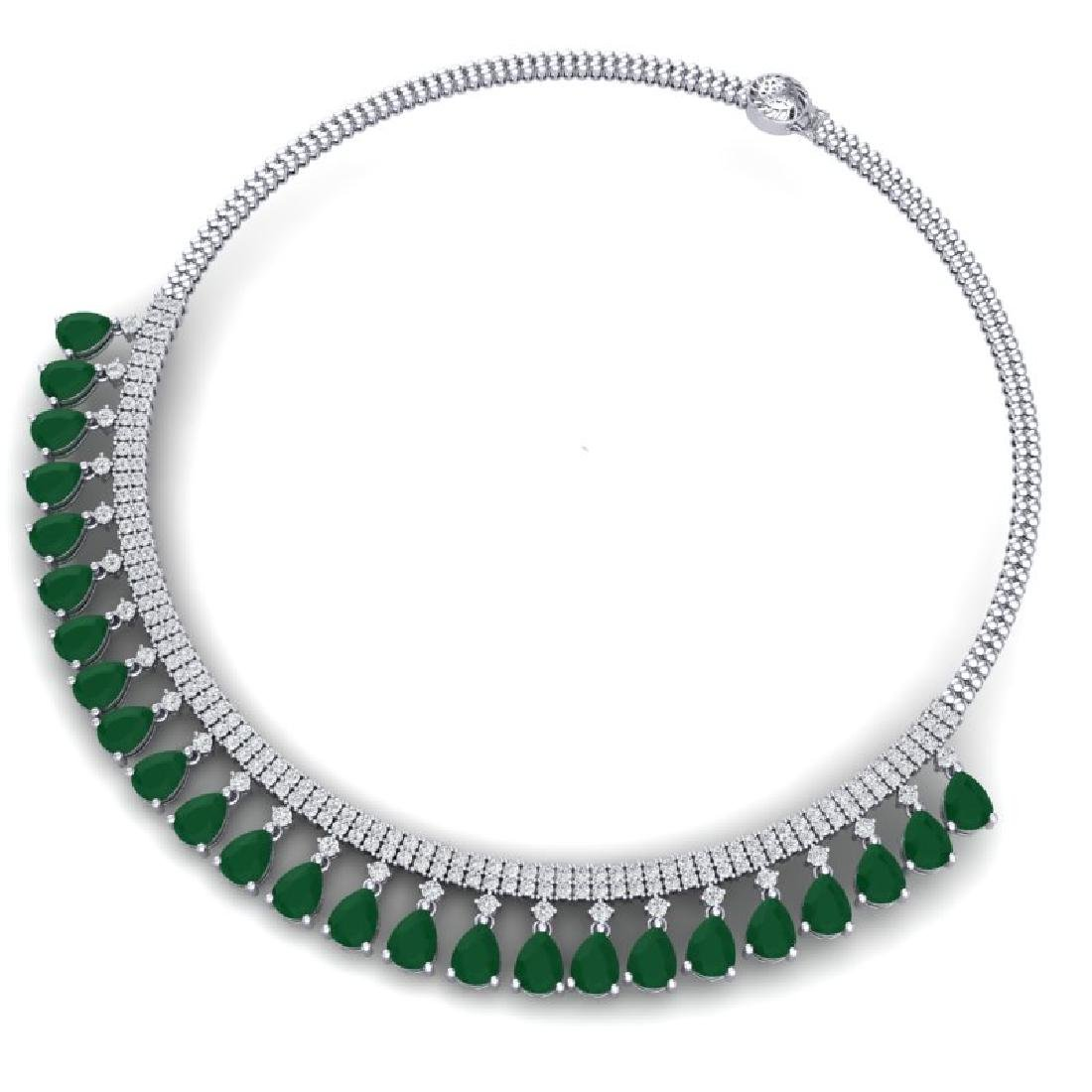 51.75 CTW Royalty Emerald & VS Diamond Necklace 18K - 3