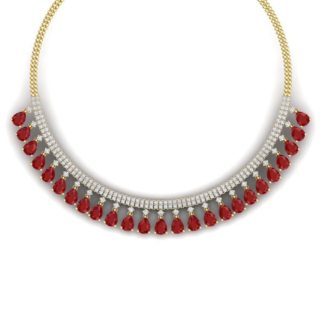 51.75 CTW Royalty Ruby & VS Diamond Necklace 18K Yellow