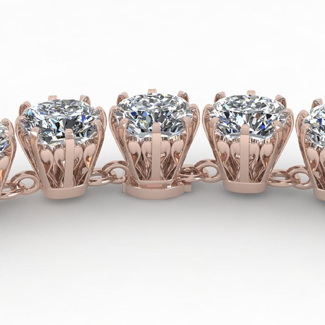 28 CTW Oval Cut SI Certified Diamond Necklace 14K Rose