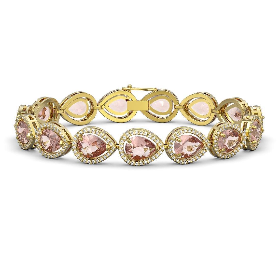 19.55 CTW Morganite & Diamond Halo Bracelet 10K Yellow