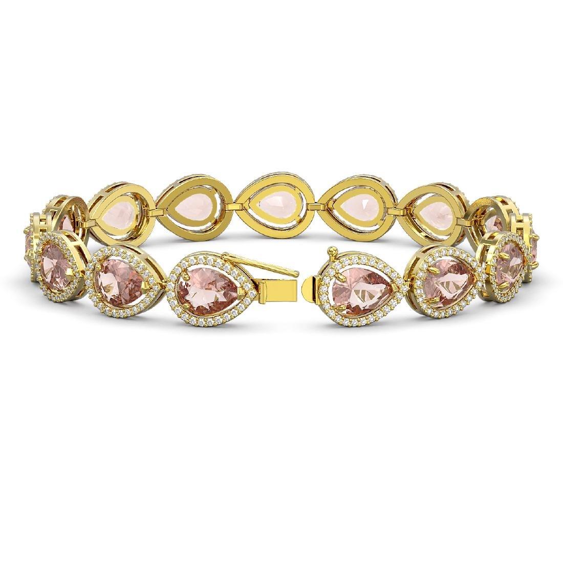 19.55 CTW Morganite & Diamond Halo Bracelet 10K Yellow - 2