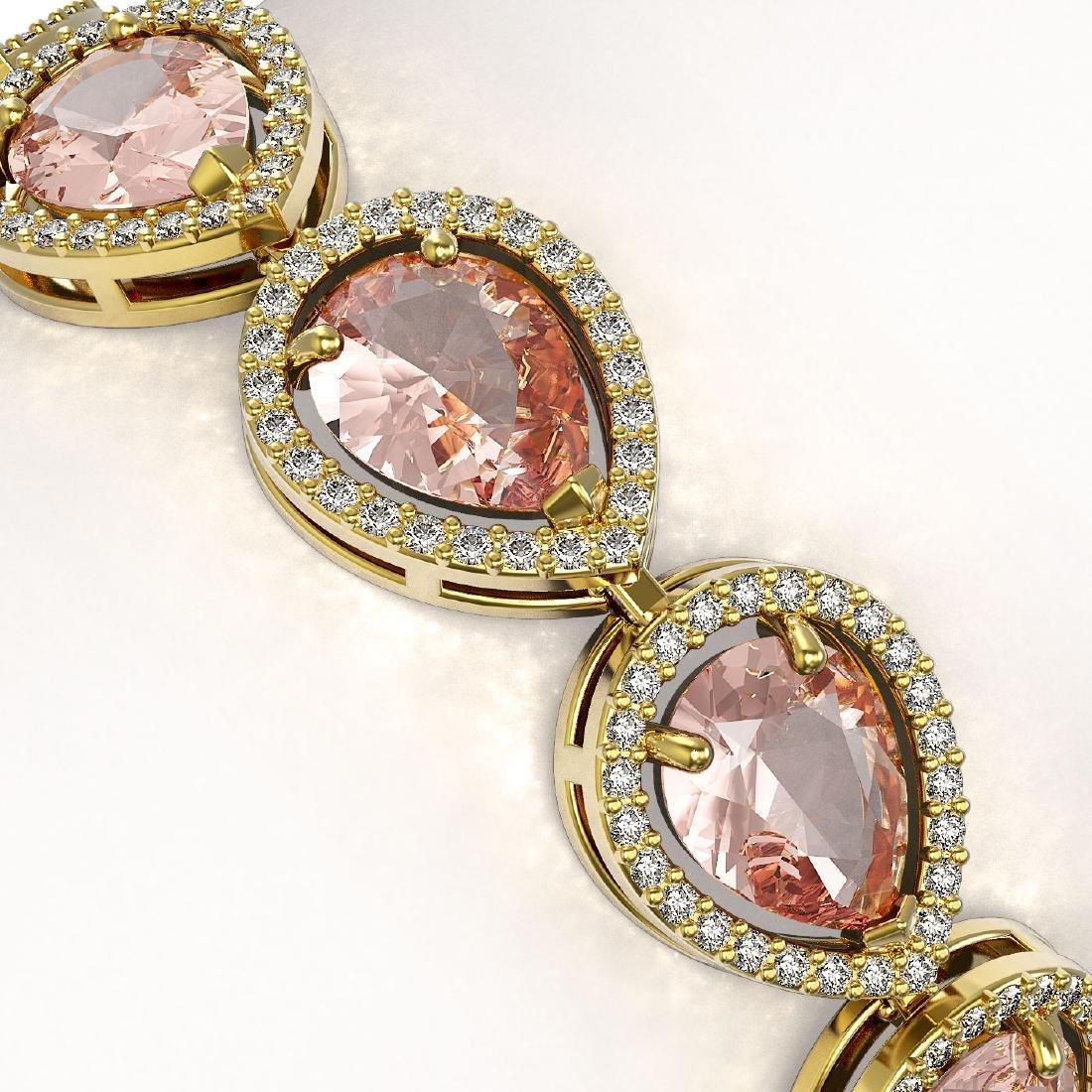 19.55 CTW Morganite & Diamond Halo Bracelet 10K Yellow - 3
