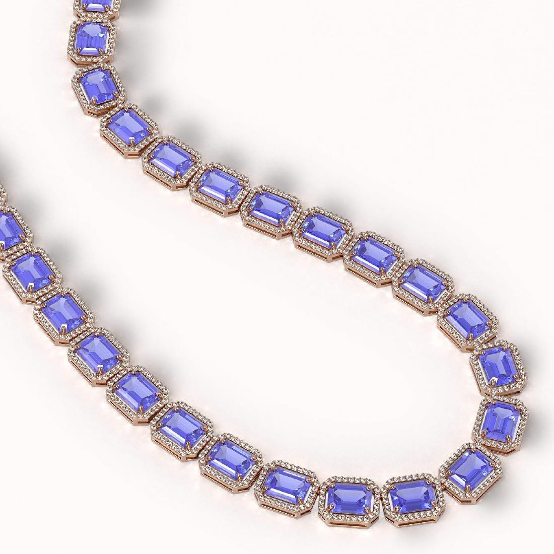 79.99 CTW Tanzanite & Diamond Halo Necklace 10K Rose - 2