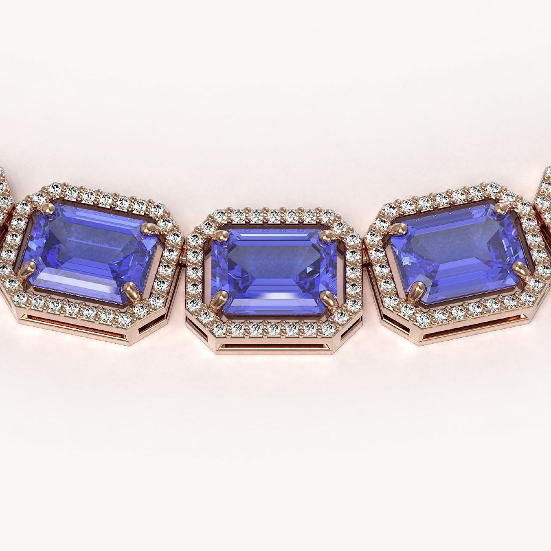 79.99 CTW Tanzanite & Diamond Halo Necklace 10K Rose - 3