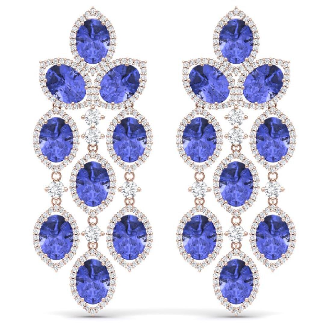 20.53 CTW Royalty Tanzanite & VS Diamond Earrings 18K