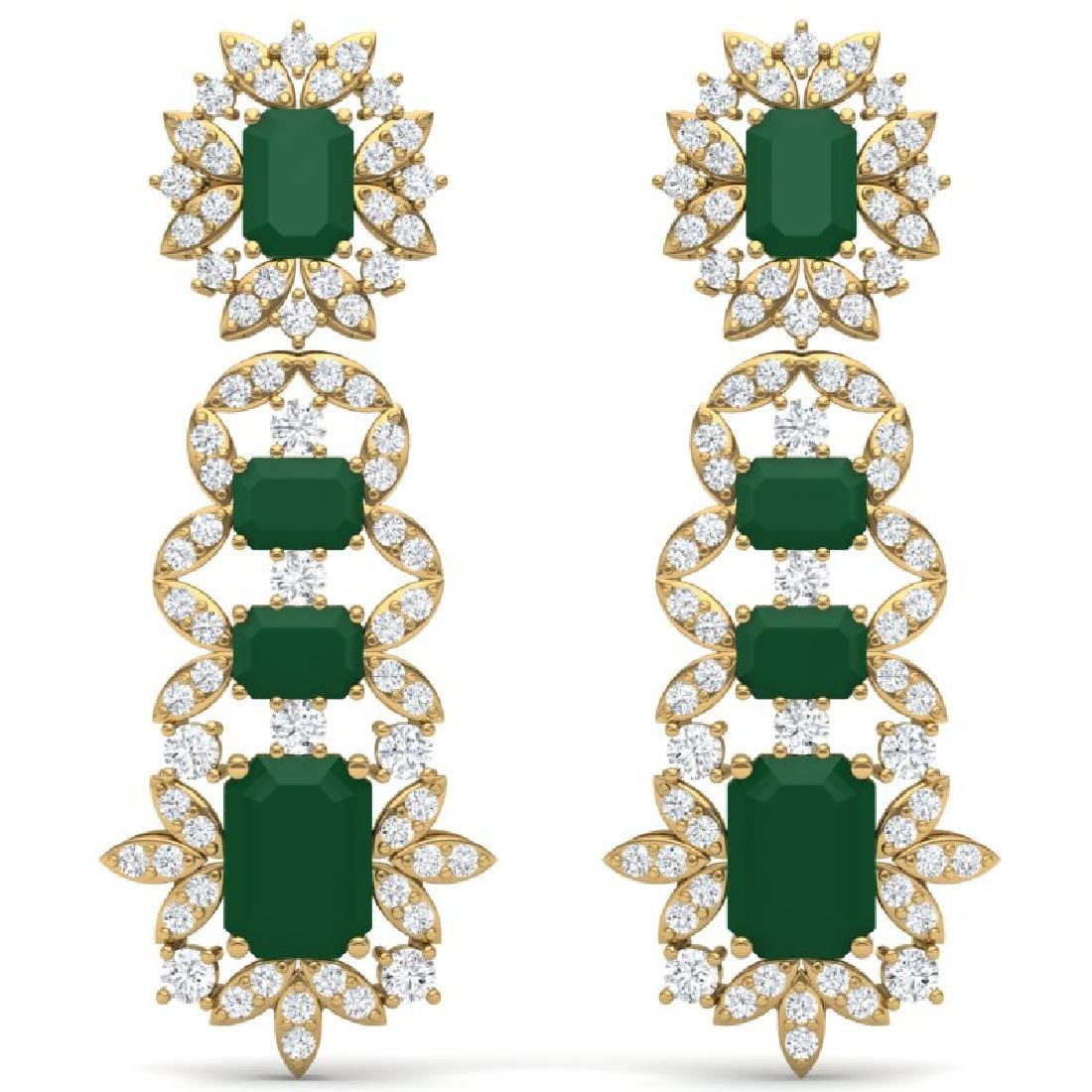 30.25 CTW Royalty Emerald & VS Diamond Earrings 18K