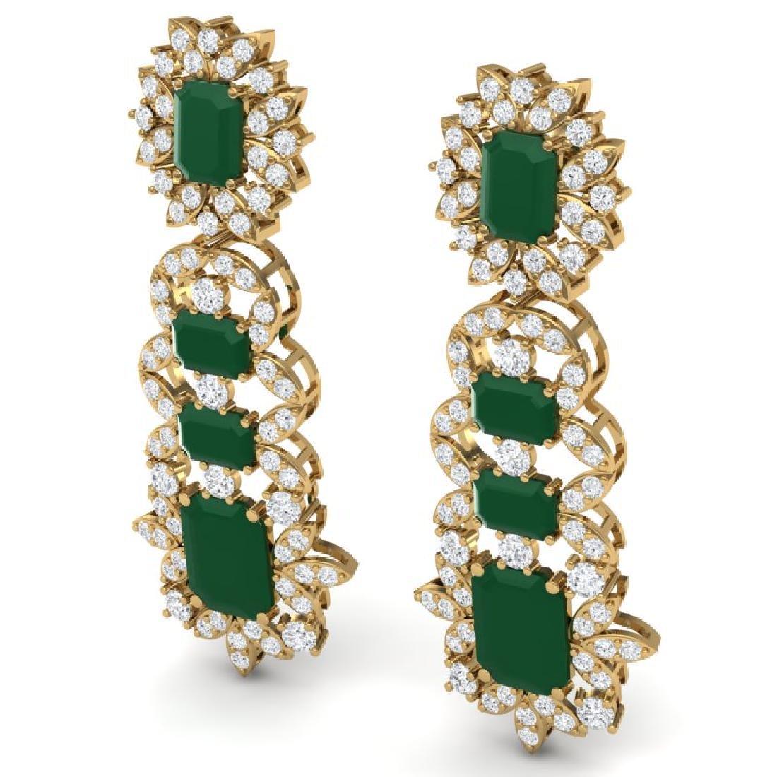 30.25 CTW Royalty Emerald & VS Diamond Earrings 18K - 2