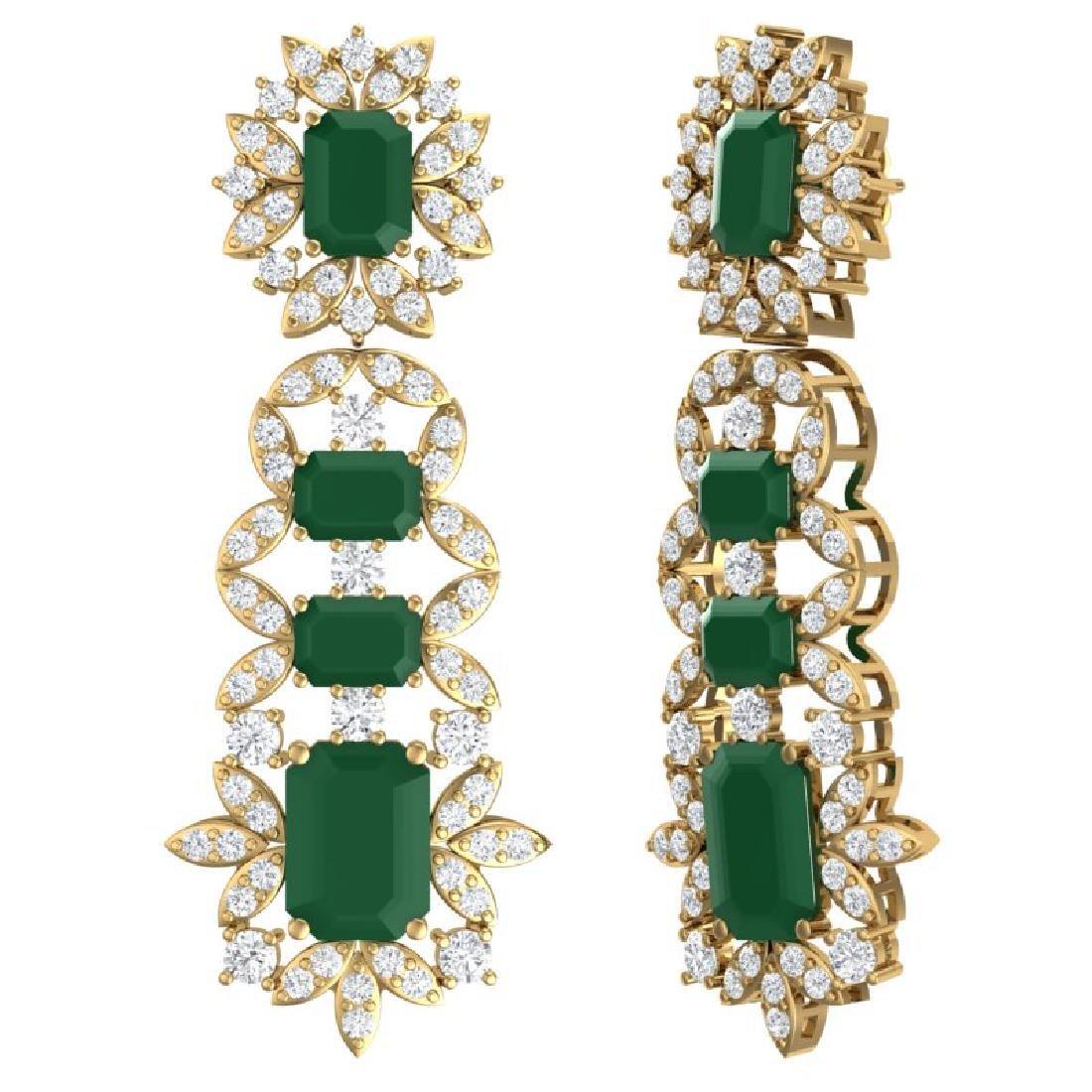 30.25 CTW Royalty Emerald & VS Diamond Earrings 18K - 3