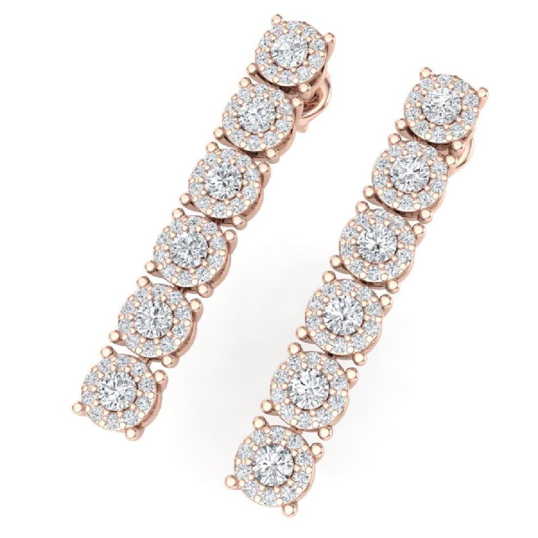 2 CTW Certified SI/I Diamond Halo Earrings 18K Rose