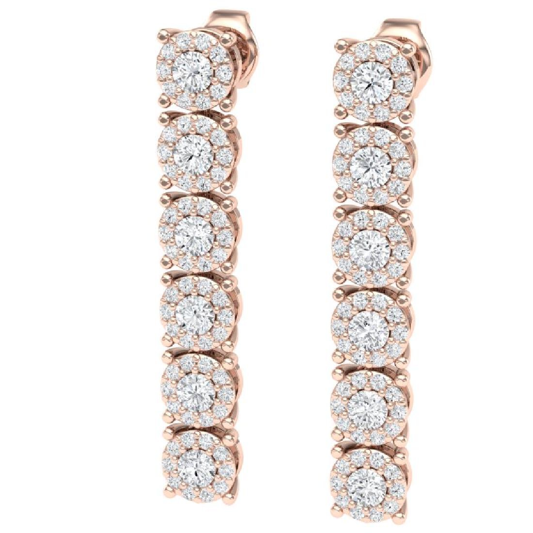 2 CTW Certified SI/I Diamond Halo Earrings 18K Rose - 2