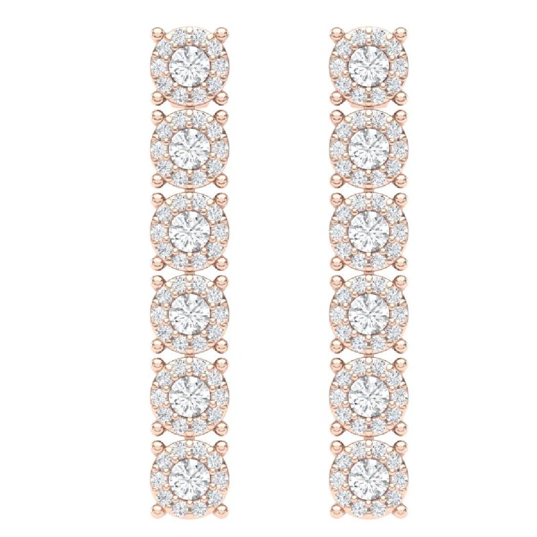 2 CTW Certified SI/I Diamond Halo Earrings 18K Rose - 3