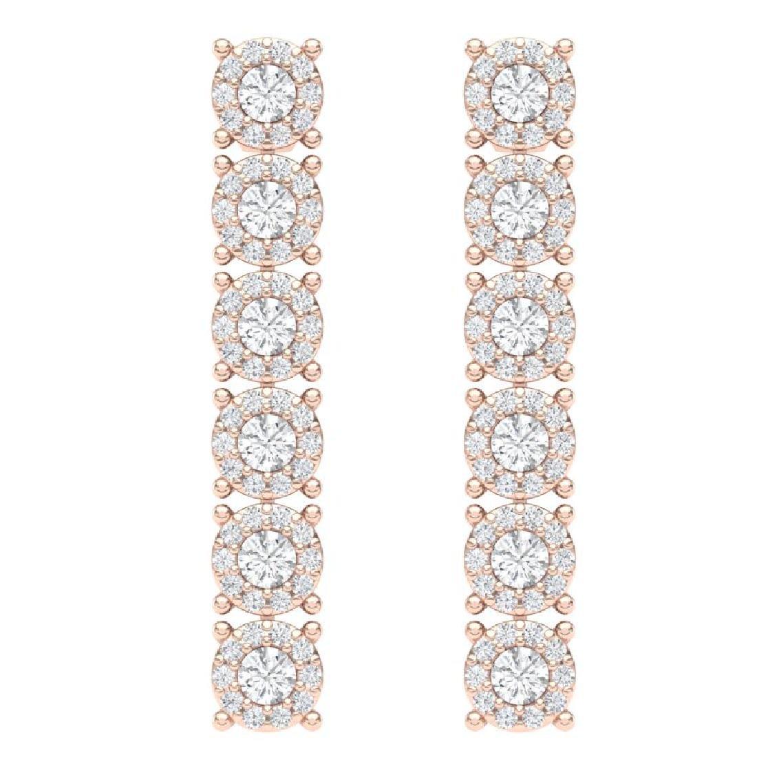 2 CTW Certified SI/I Diamond Halo Earrings 18K Rose - 3