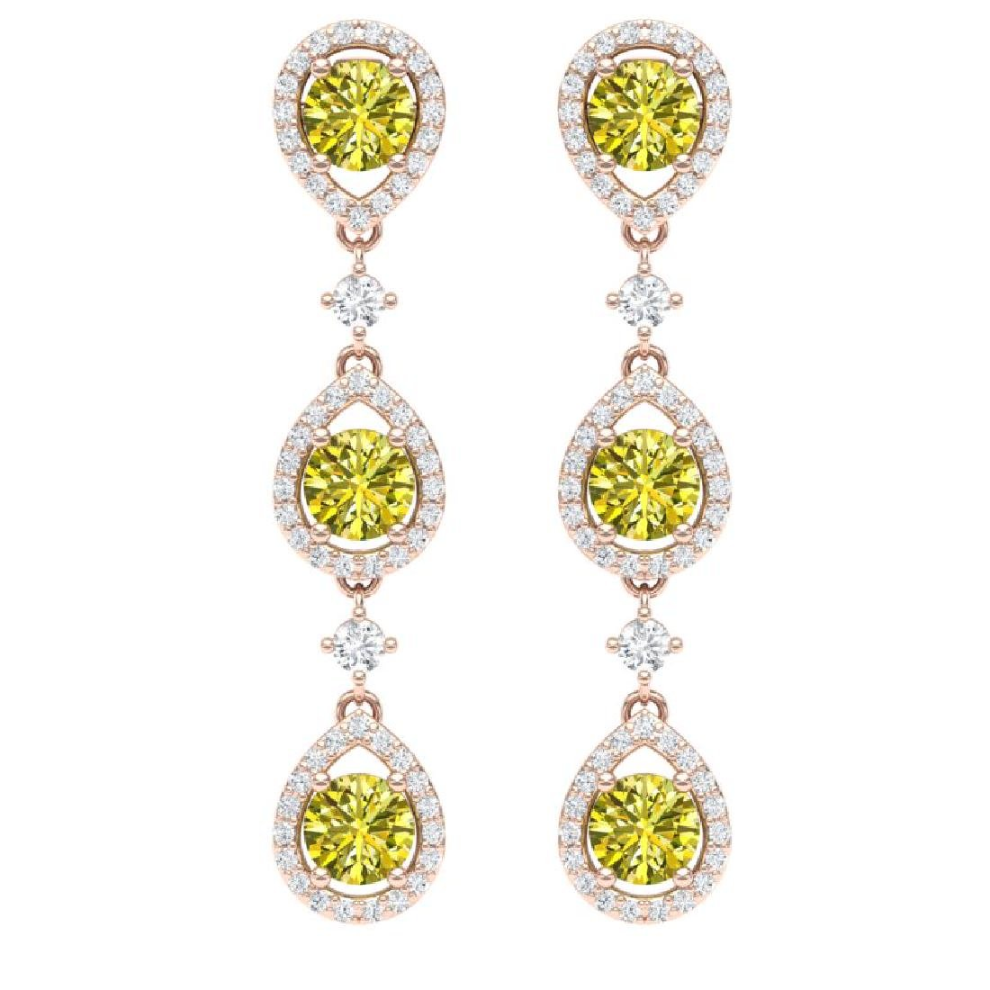 5.11 CTW Fancy Yellow SI Diamond Earrings 18K Rose Gold