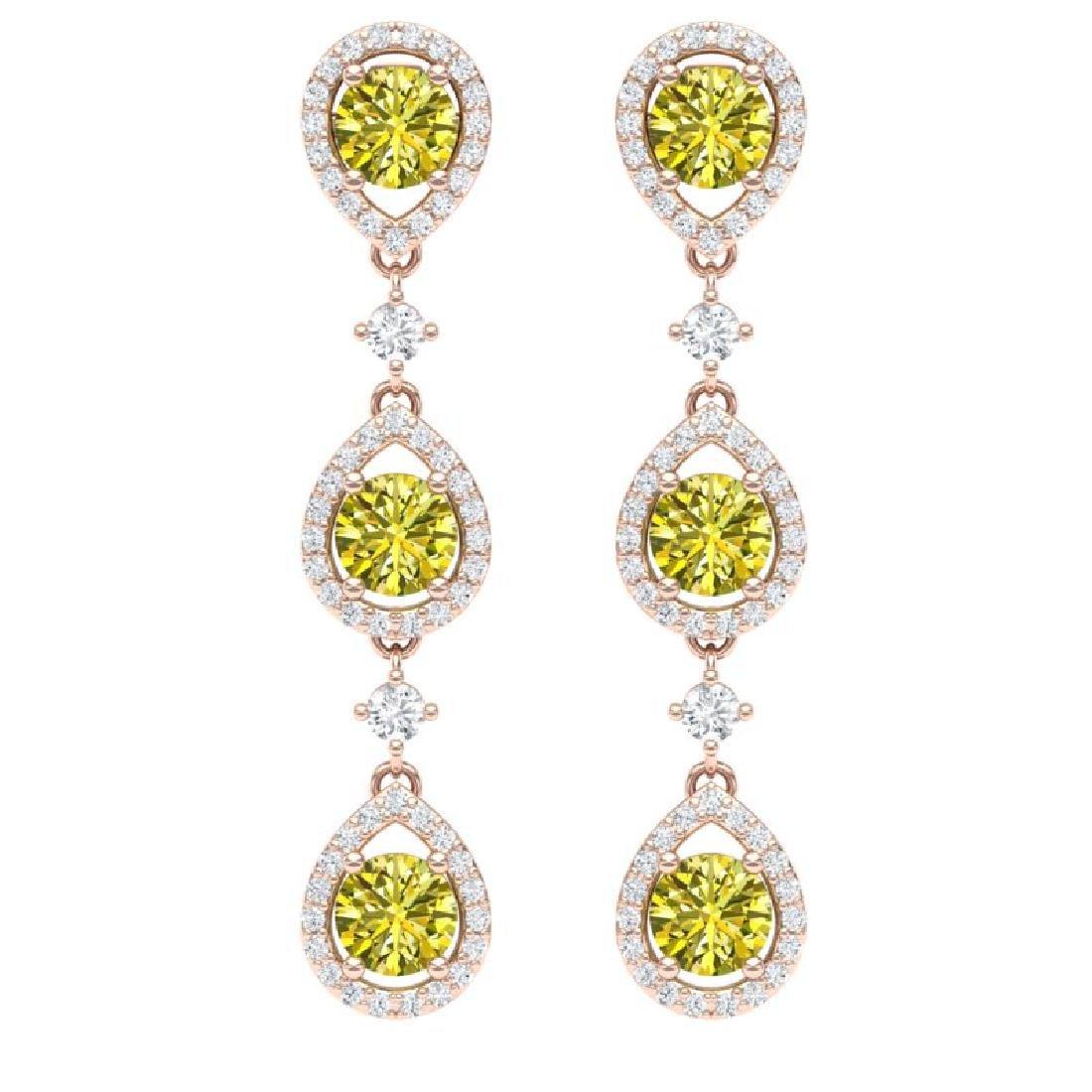 5.11 CTW Fancy Yellow SI Diamond Earrings 18K Rose Gold