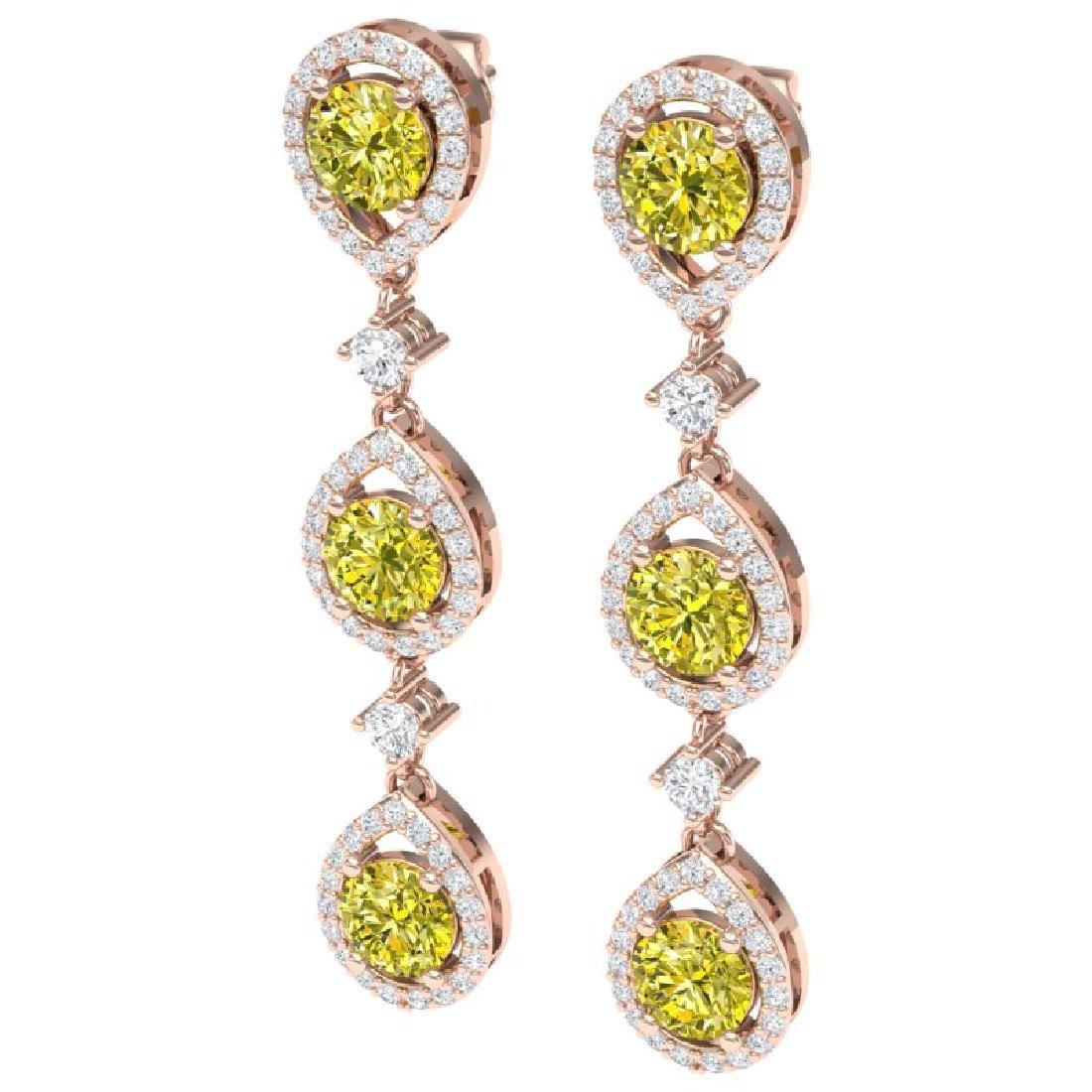 5.11 CTW Fancy Yellow SI Diamond Earrings 18K Rose Gold - 2