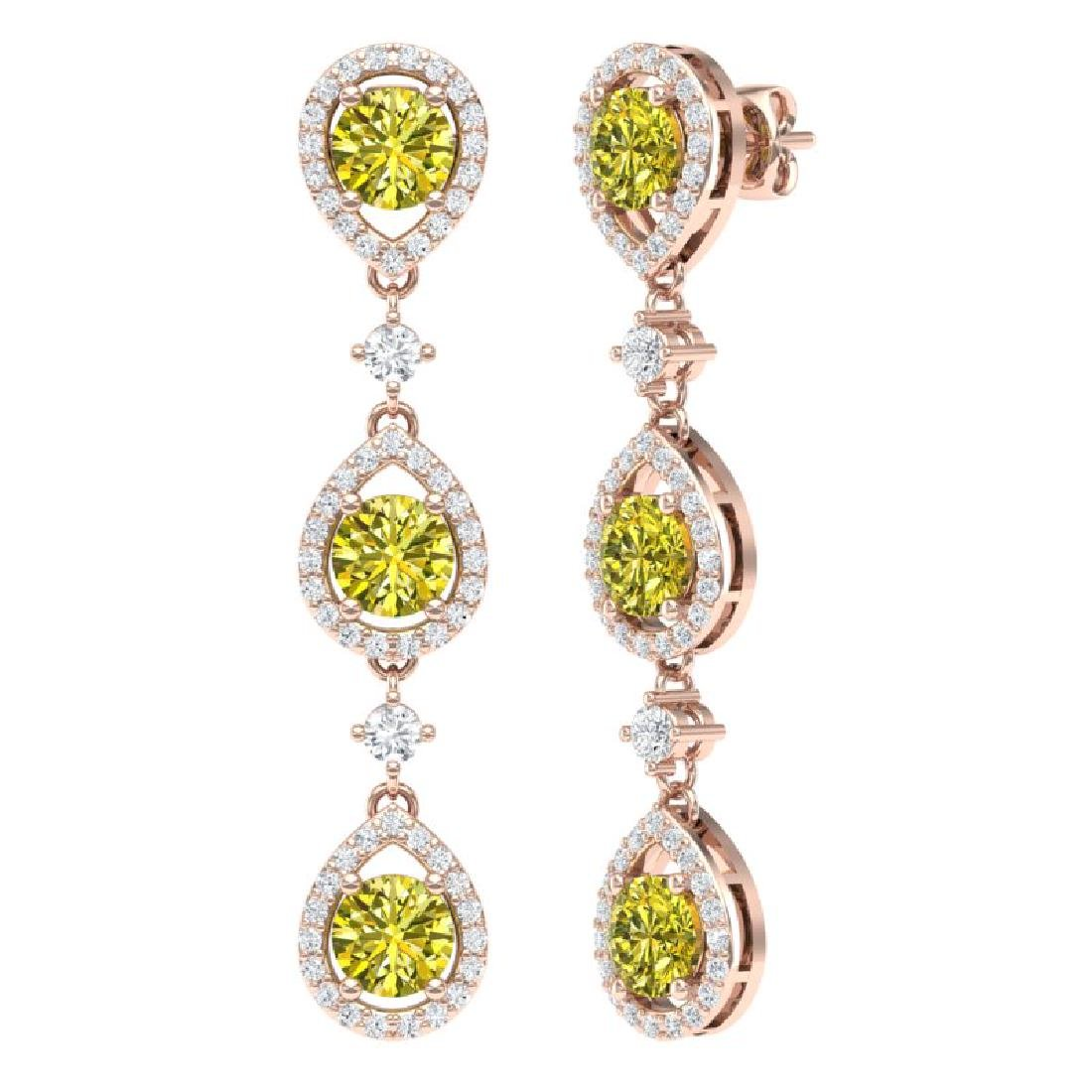 5.11 CTW Fancy Yellow SI Diamond Earrings 18K Rose Gold - 3