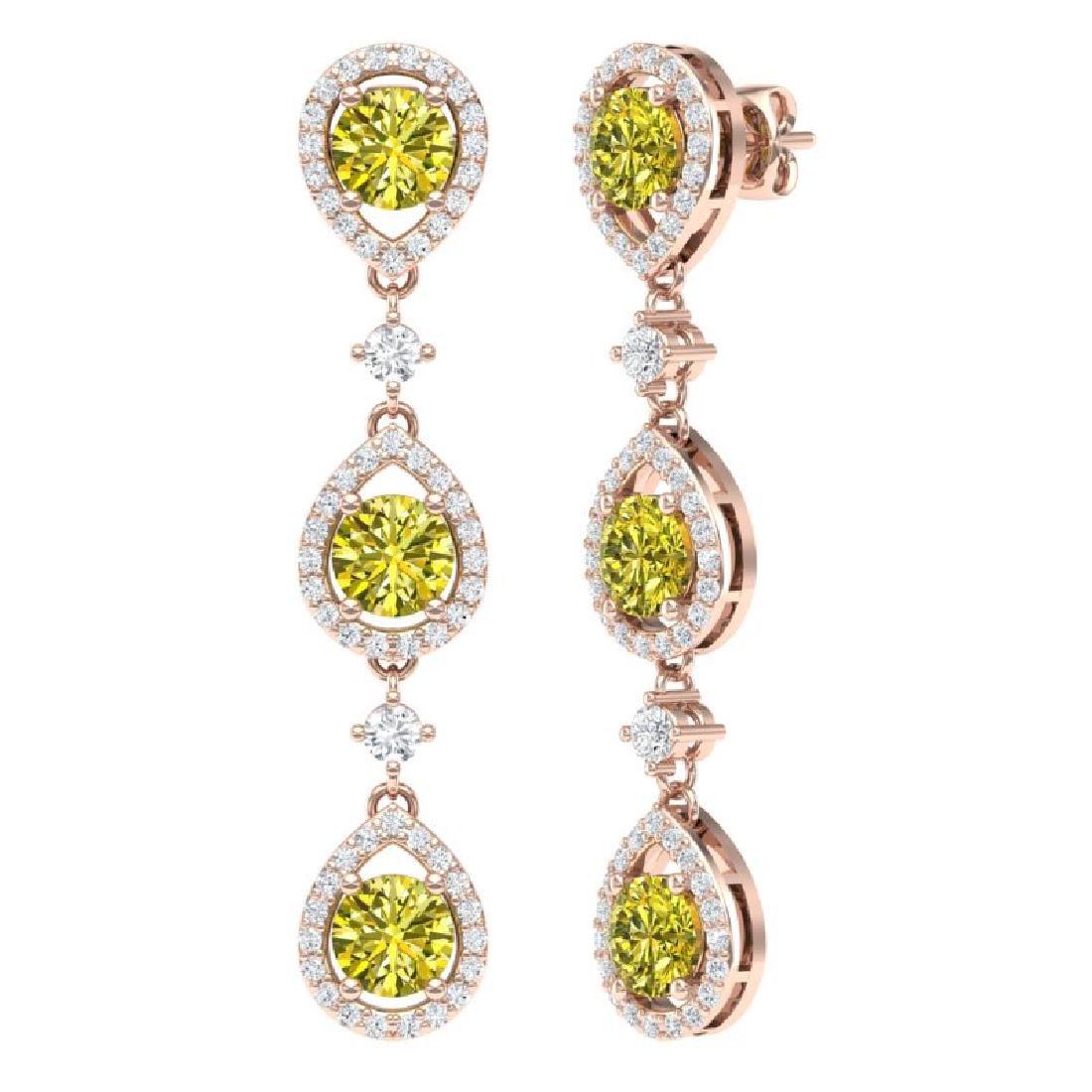 5.11 CTW Fancy Yellow SI Diamond Earrings 18K Rose Gold - 3
