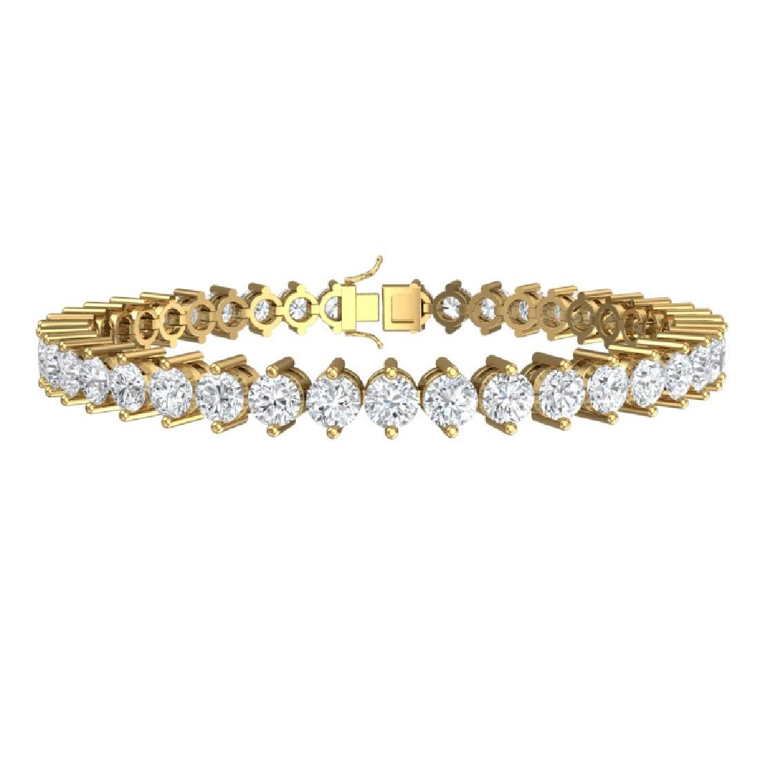 13 CTW Certified VS/SI Diamond Bracelet 18K Yellow Gold - 3