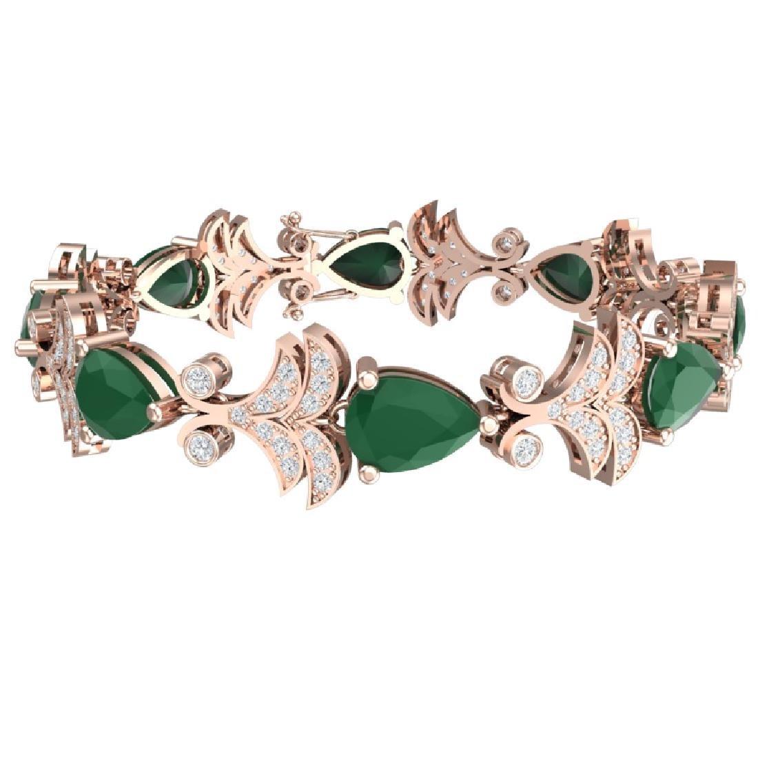 24.8 CTW Royalty Emerald & VS Diamond Bracelet 18K Rose - 2