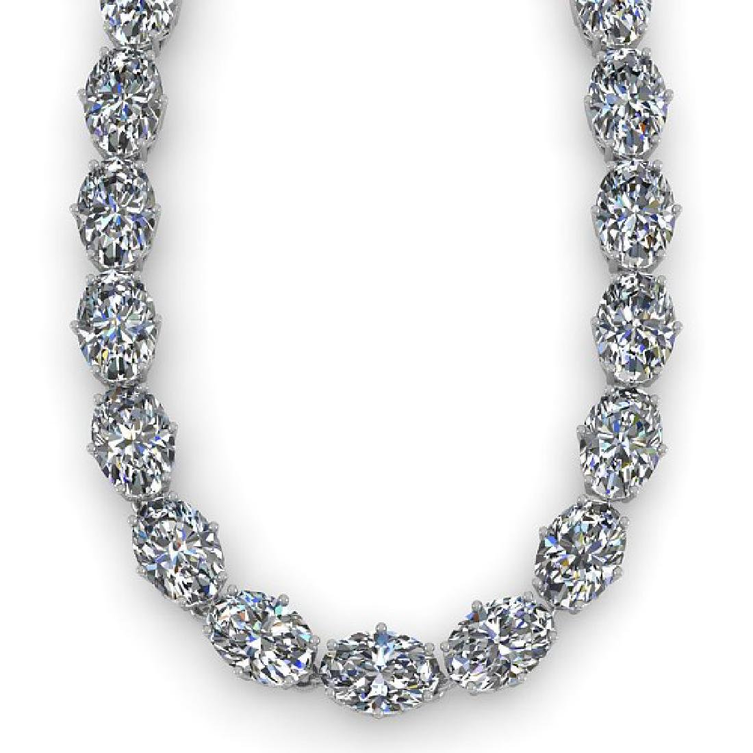 30 CTW Oval Cut SI Certified Diamond Necklace 14K White - 2