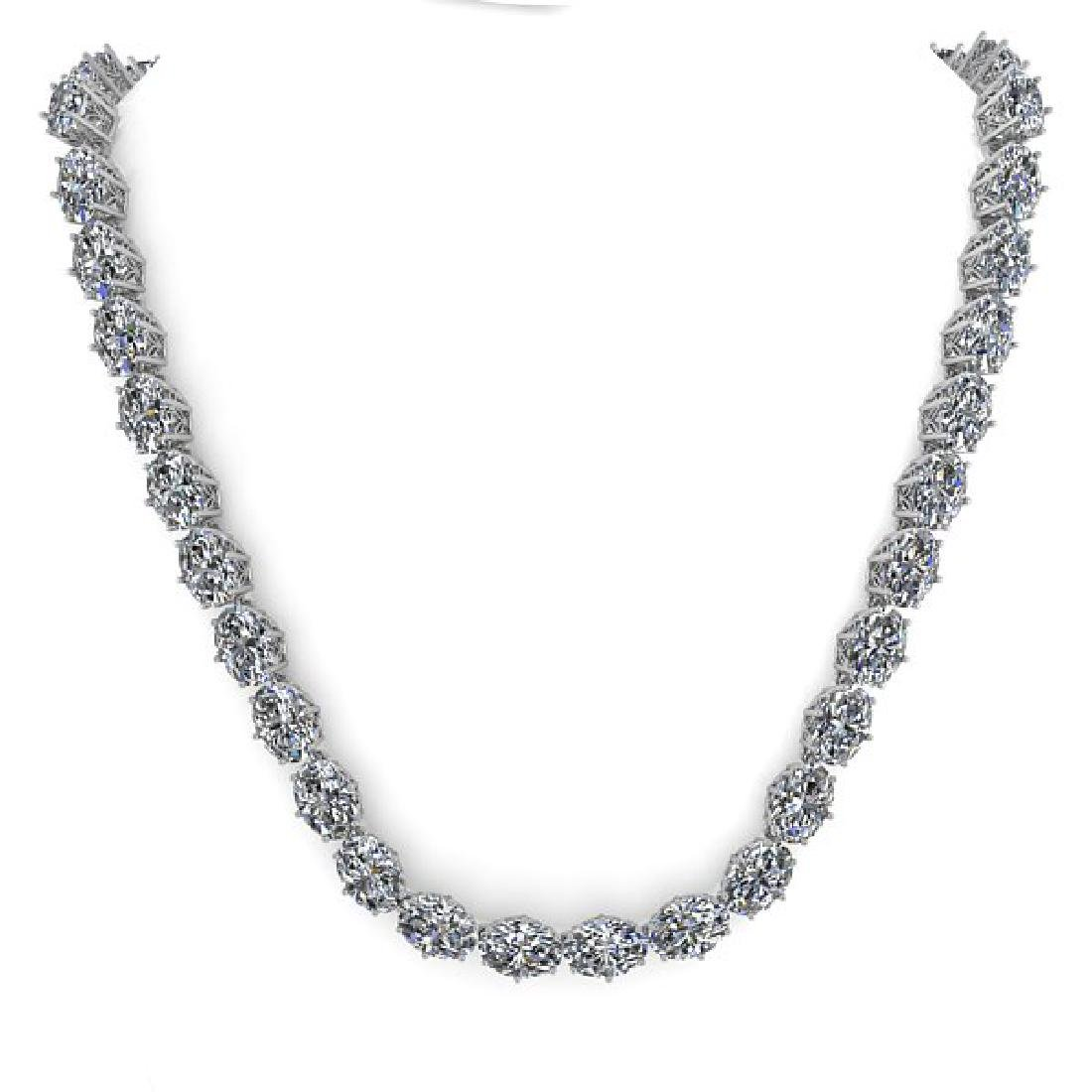 30 CTW Oval Cut SI Certified Diamond Necklace 14K White - 3