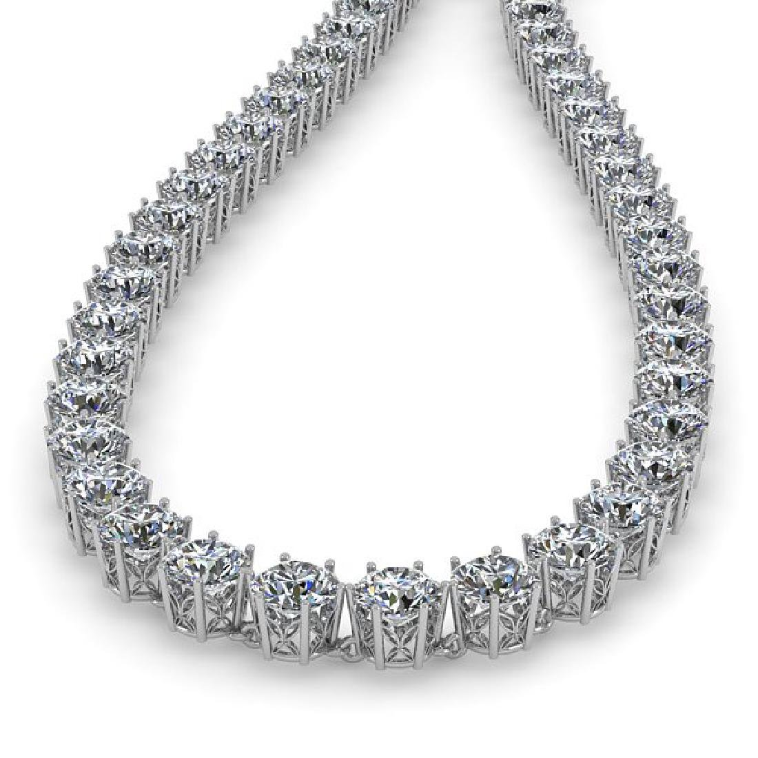29 CTW SI Certified Diamond Necklace 18K White Gold - 2