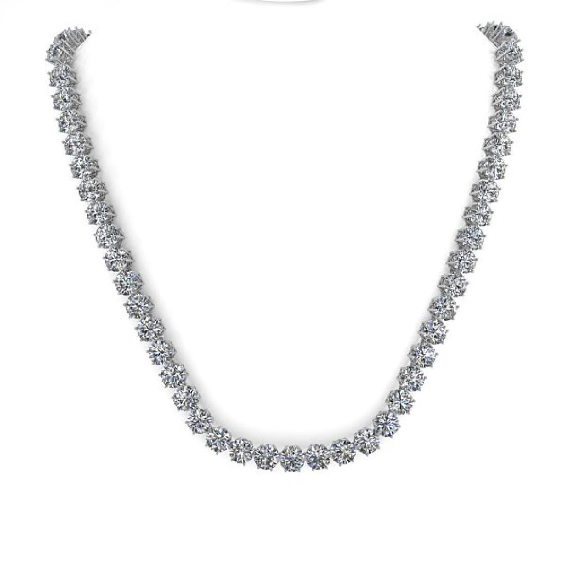 29 CTW SI Certified Diamond Necklace 18K White Gold - 3