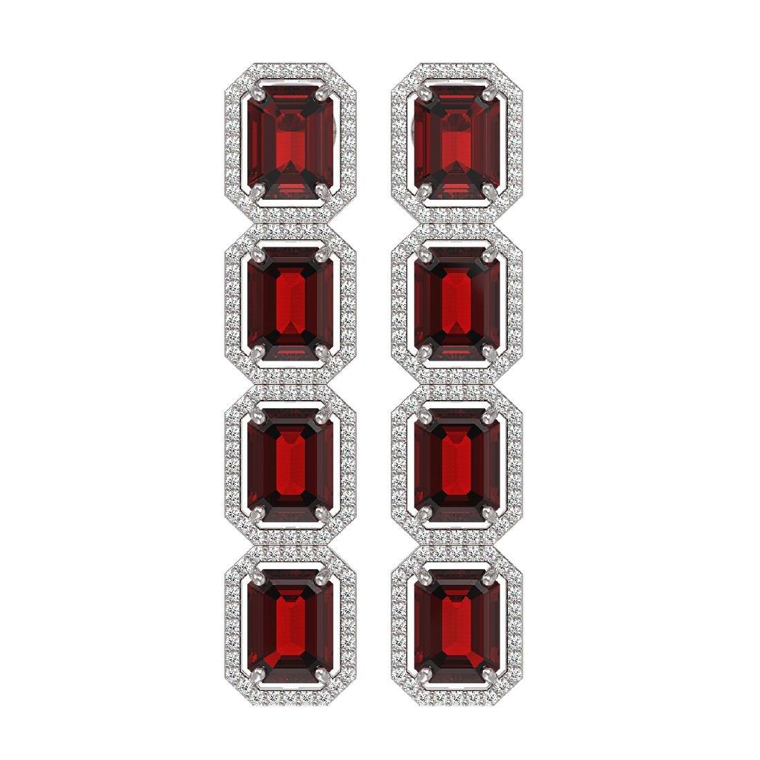 17.8 CTW Garnet & Diamond Halo Earrings 10K White Gold