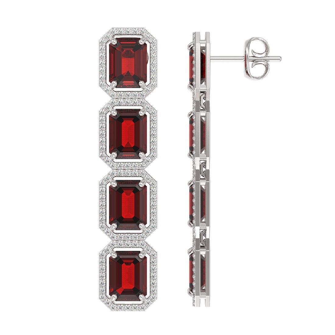 17.8 CTW Garnet & Diamond Halo Earrings 10K White Gold - 2