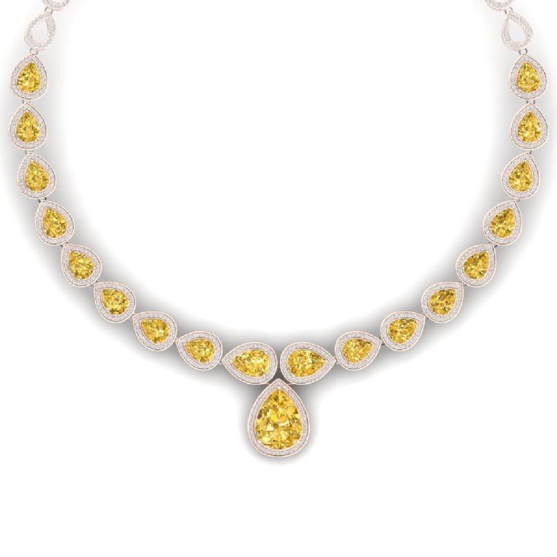 48.24 CTW Royalty Canary Citrine & VS Diamond Necklace