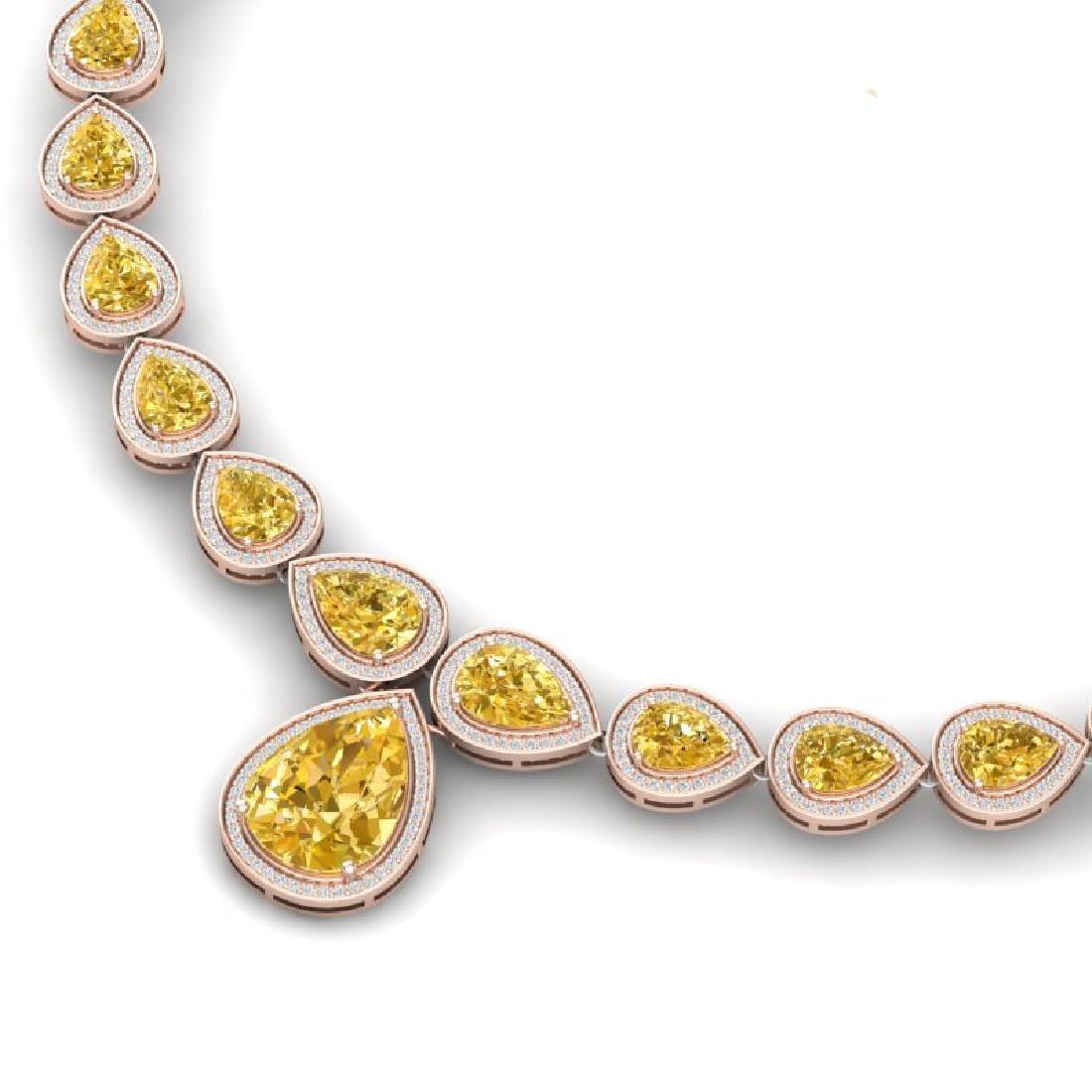 48.24 CTW Royalty Canary Citrine & VS Diamond Necklace - 2