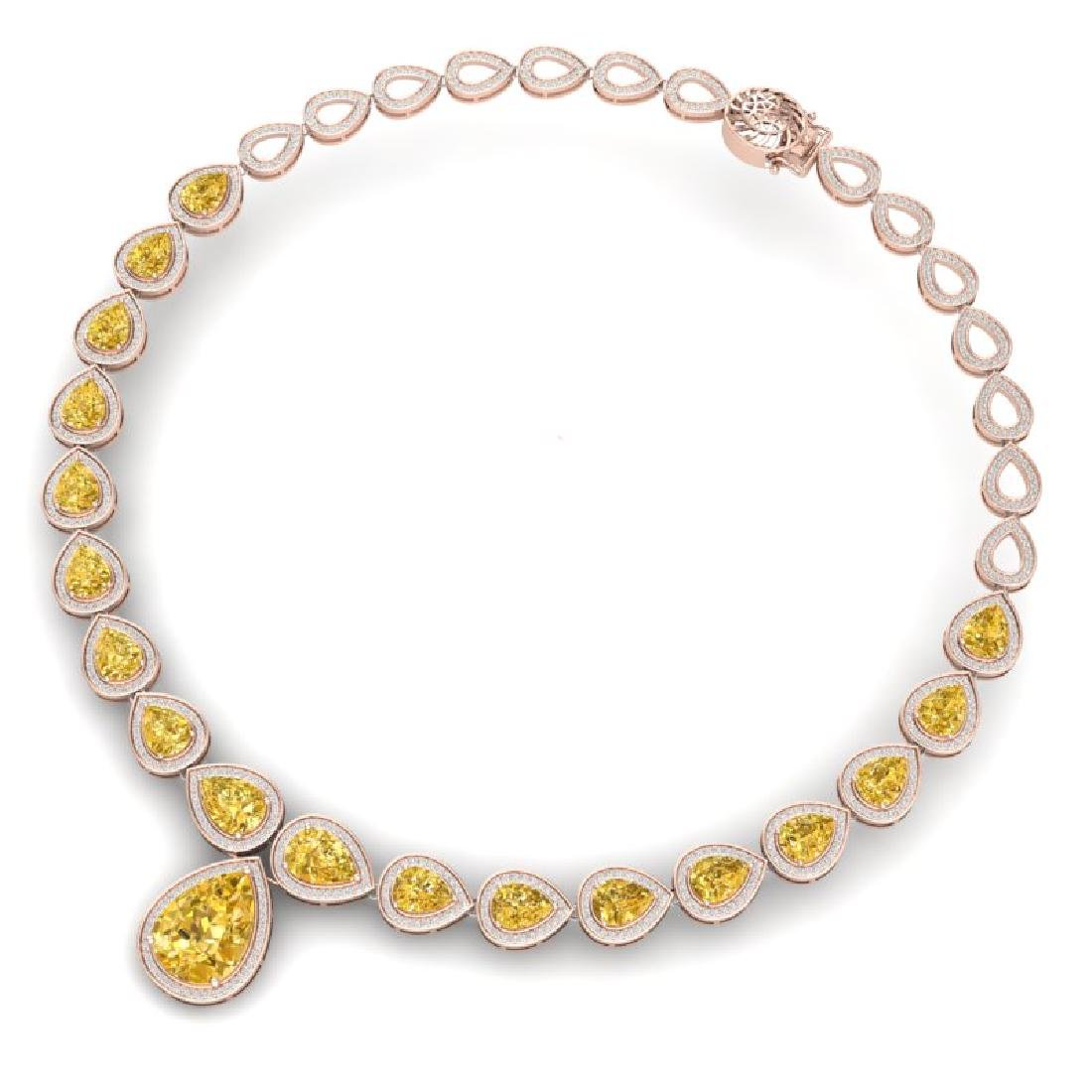 48.24 CTW Royalty Canary Citrine & VS Diamond Necklace - 3