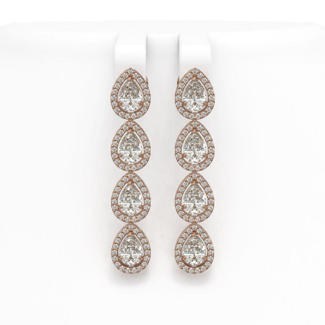 6.01 CTW Pear Diamond Designer Earrings 18K Rose Gold