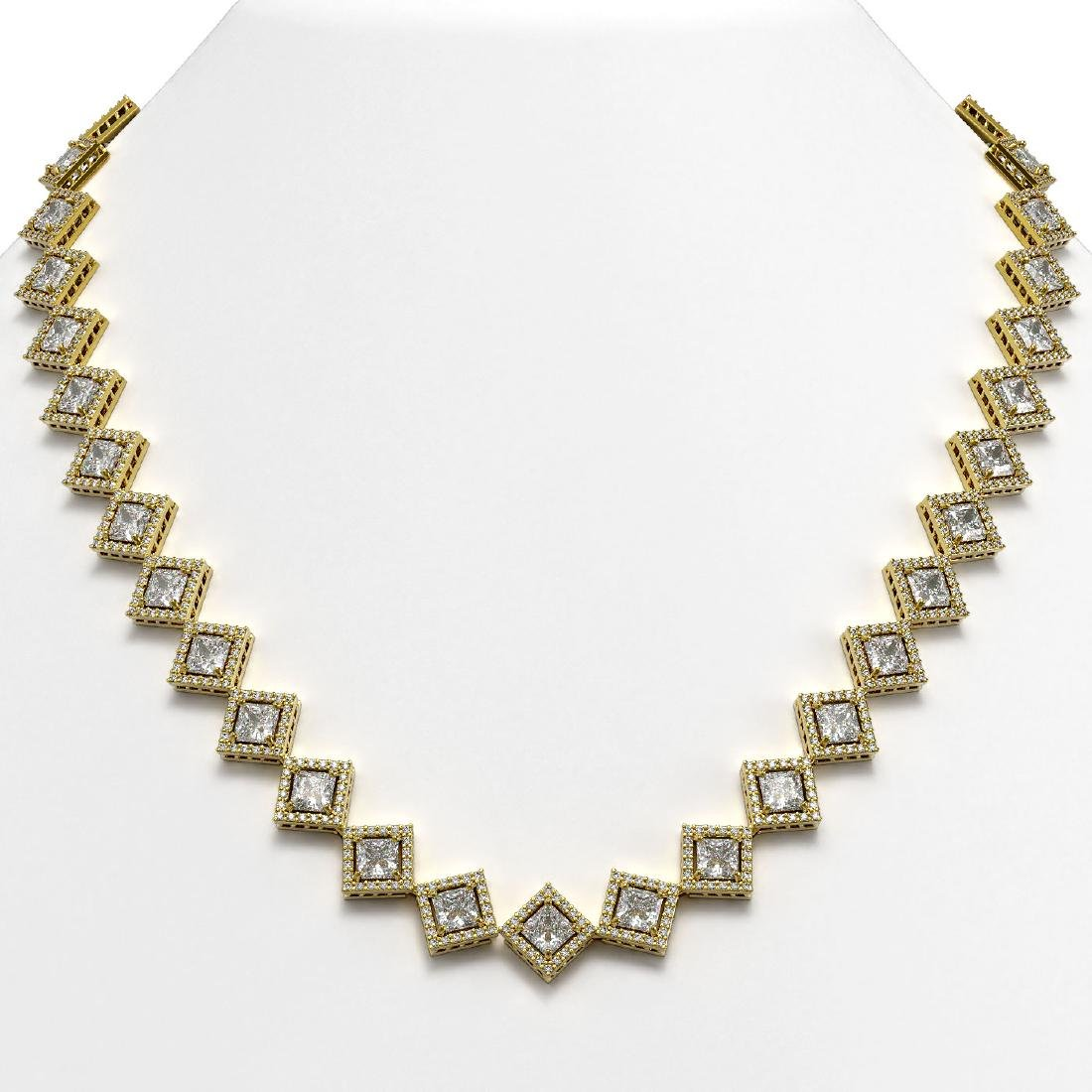 31.92 CTW Princess Cut Diamond Designer Necklace 18K