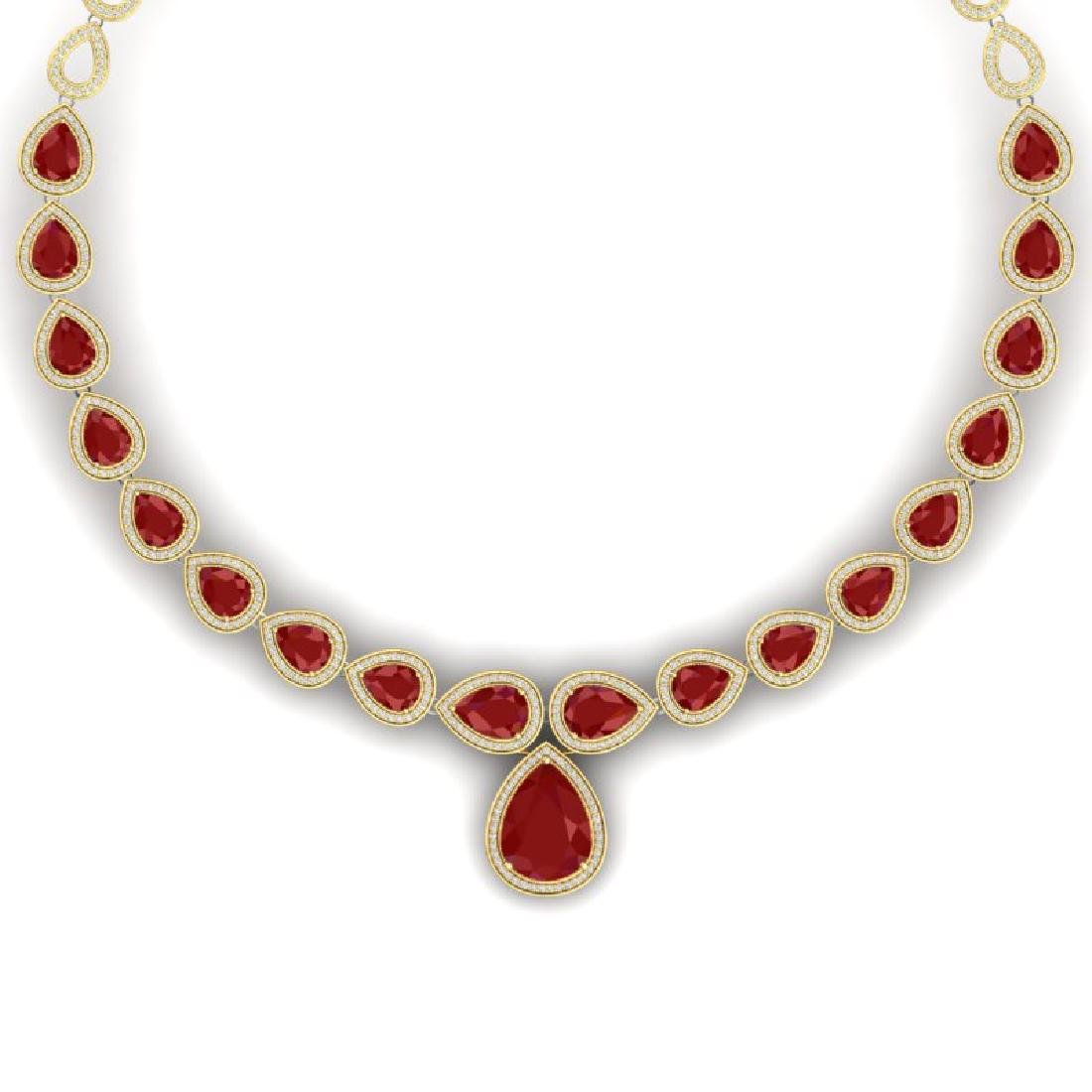 51.41 CTW Royalty Ruby & VS Diamond Necklace 18K Yellow
