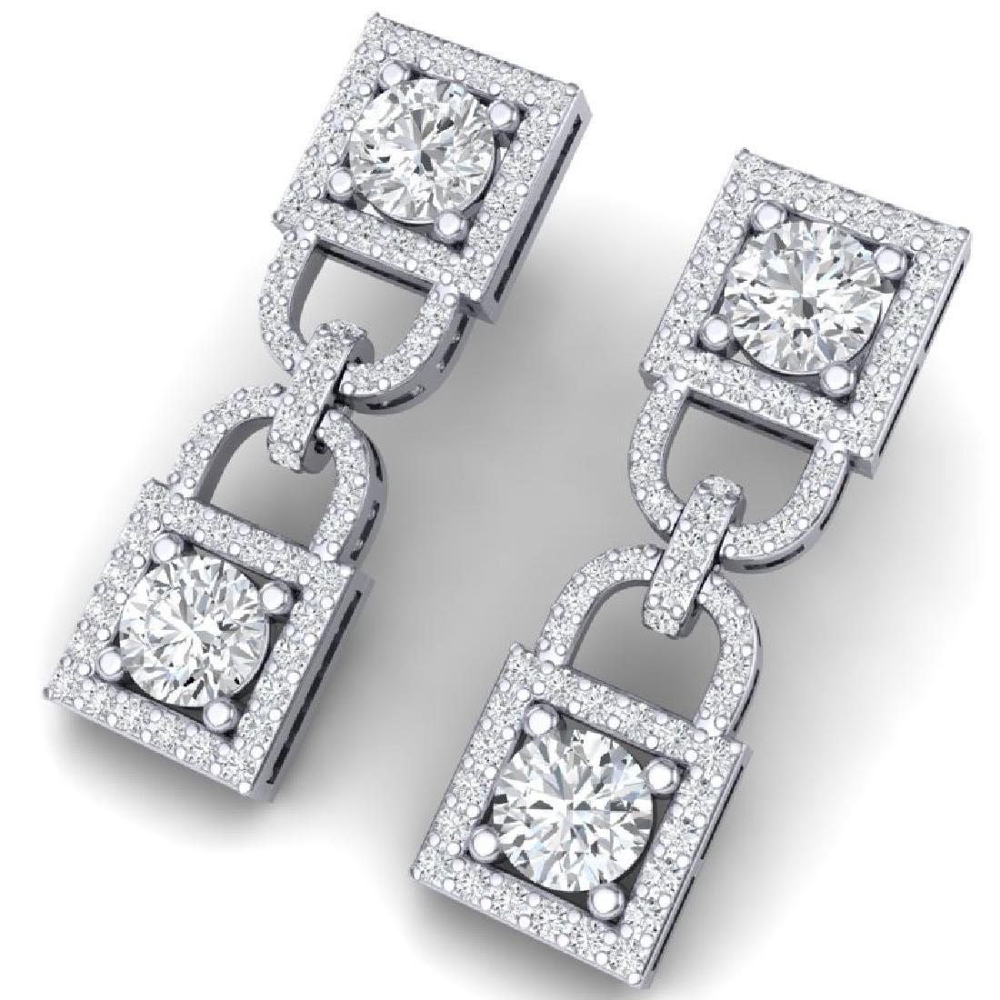 4 CTW Certified SI/I Diamond Halo Earrings 18K White