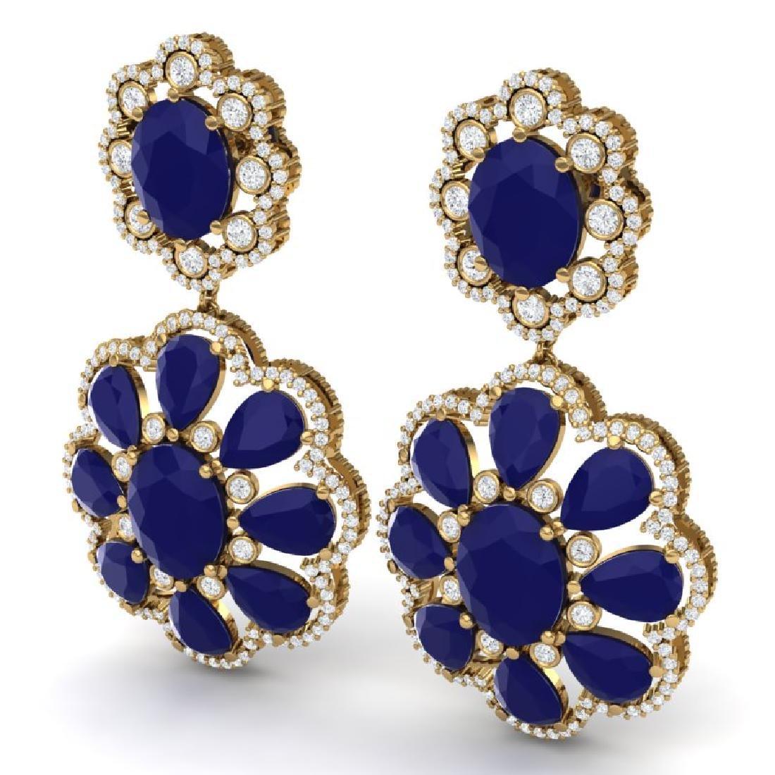 33.88 CTW Royalty Sapphire & VS Diamond Earrings 18K - 2