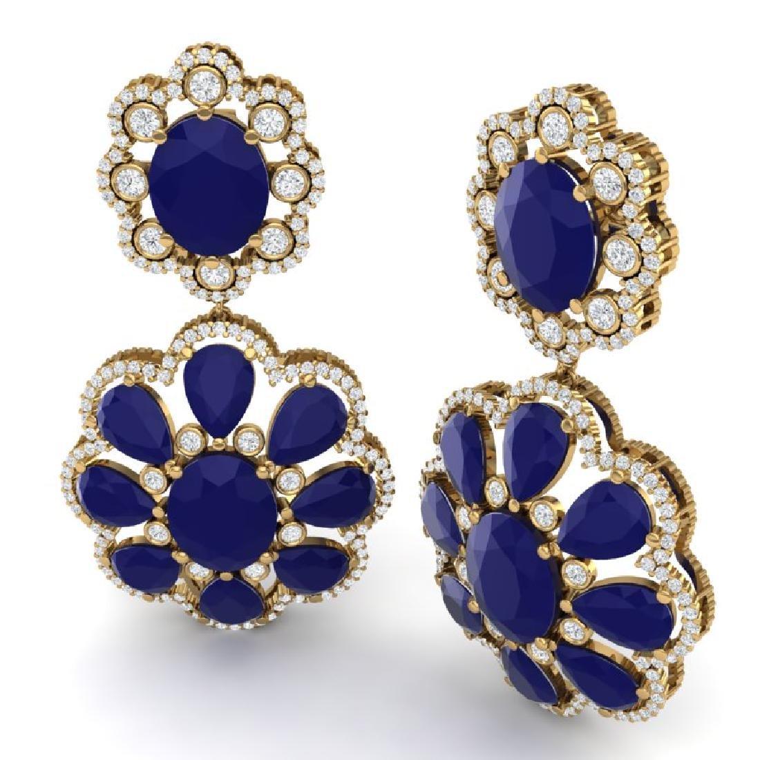 33.88 CTW Royalty Sapphire & VS Diamond Earrings 18K - 3