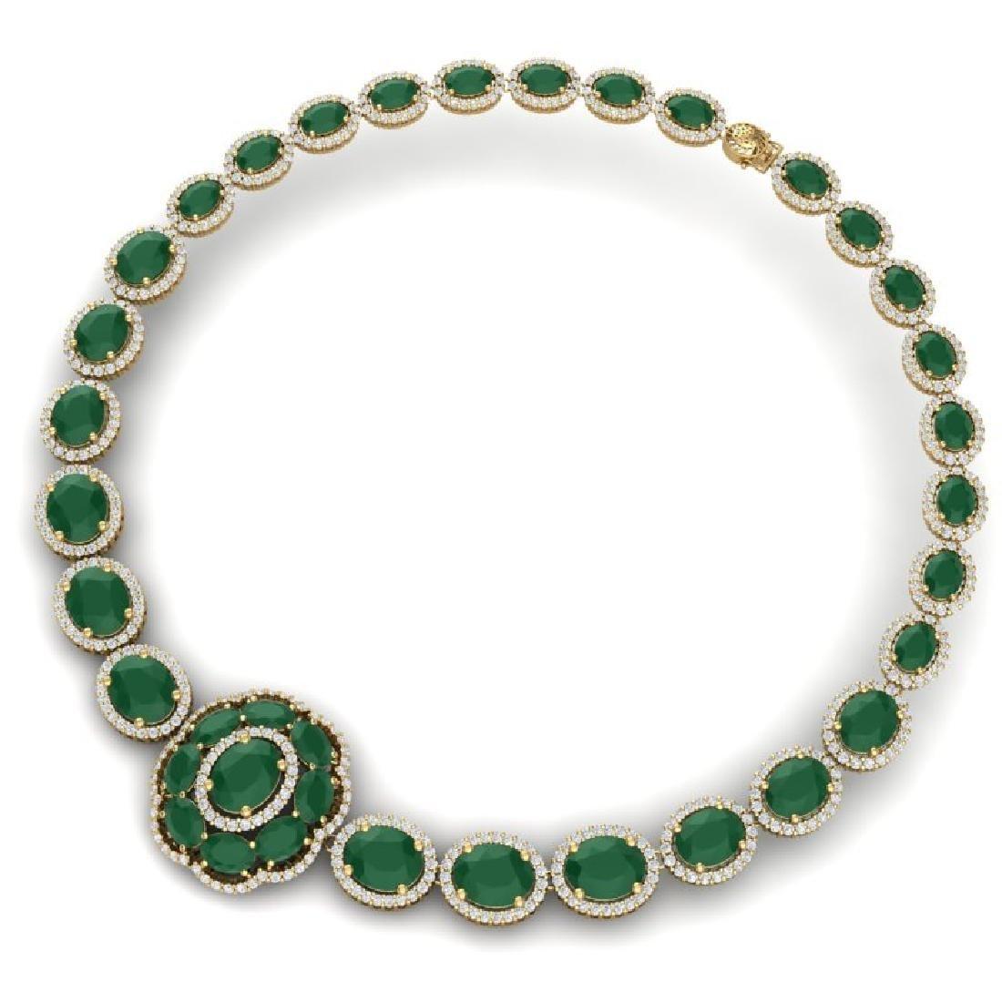 58.33 CTW Royalty Emerald & VS Diamond Necklace 18K - 3