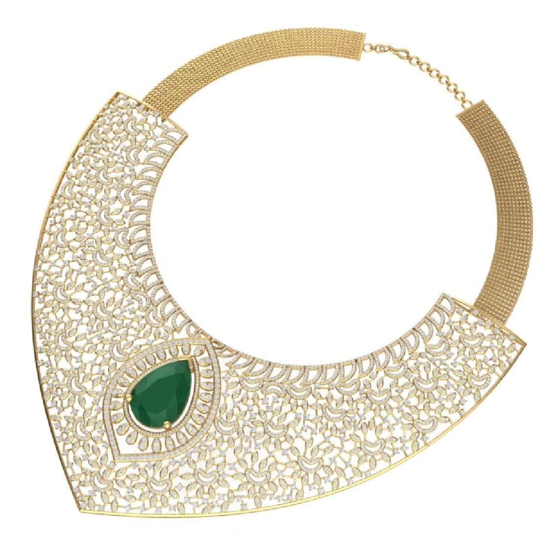 63.93 CTW Royalty Emerald & VS Diamond Necklace 18K - 2