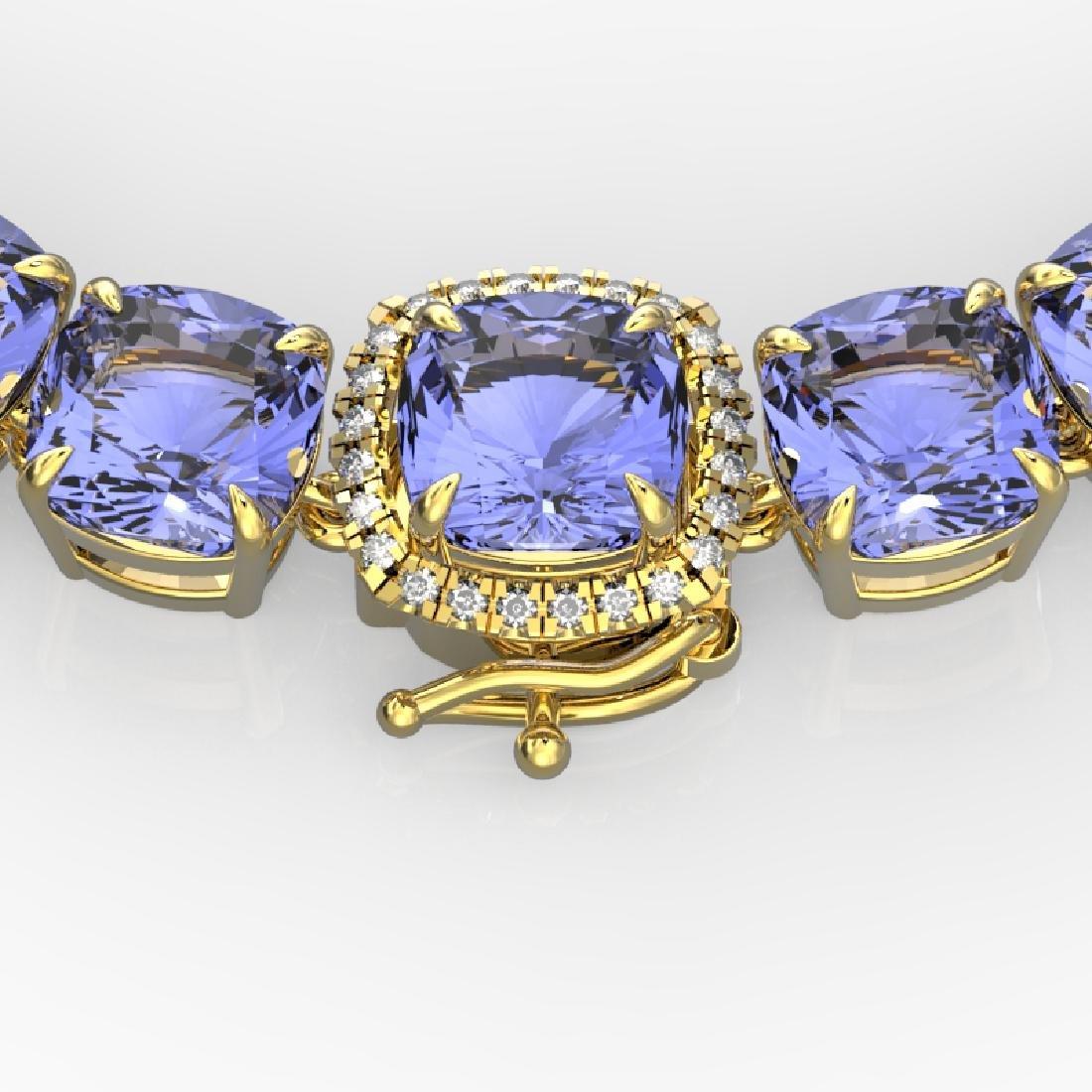100 CTW Tanzanite & VS/SI Diamond Necklace 14K Yellow