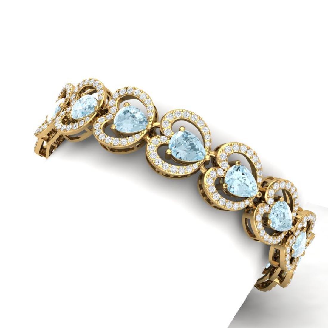 33.43 CTW Royalty Sky Topaz & VS Diamond Bracelet 18K