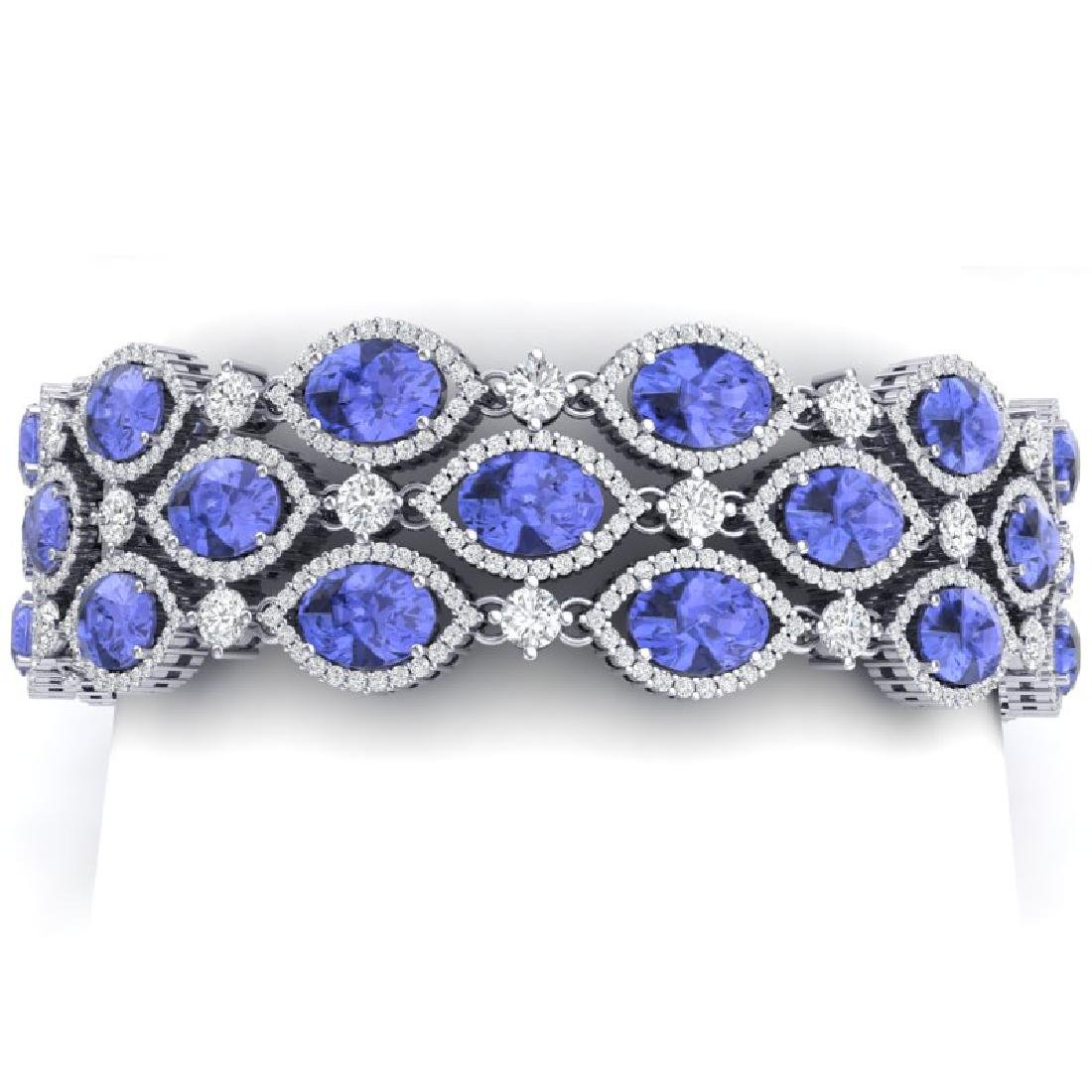 43.16 CTW Royalty Tanzanite & VS Diamond Bracelet 18K