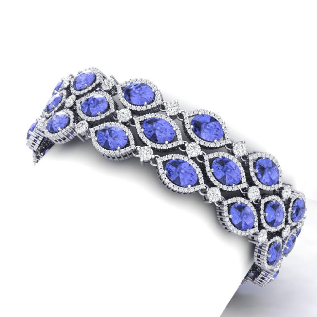43.16 CTW Royalty Tanzanite & VS Diamond Bracelet 18K - 2