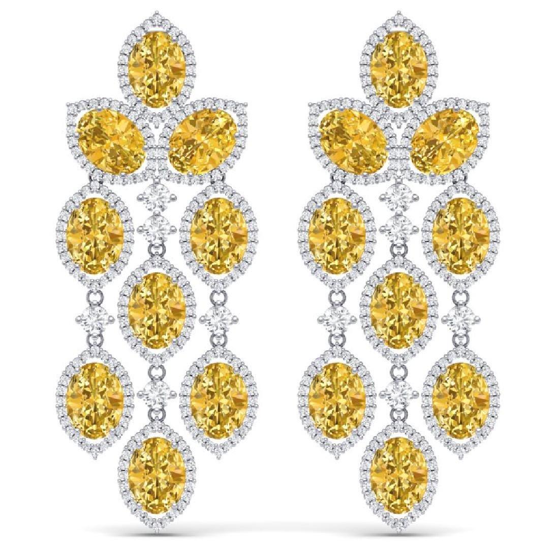 24.54 CTW Royalty Canary Citrine & VS Diamond Earrings