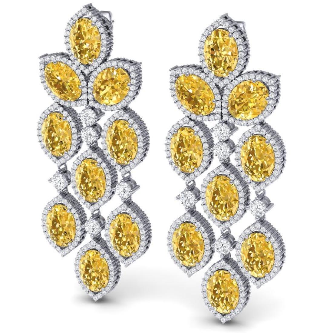 24.54 CTW Royalty Canary Citrine & VS Diamond Earrings - 2