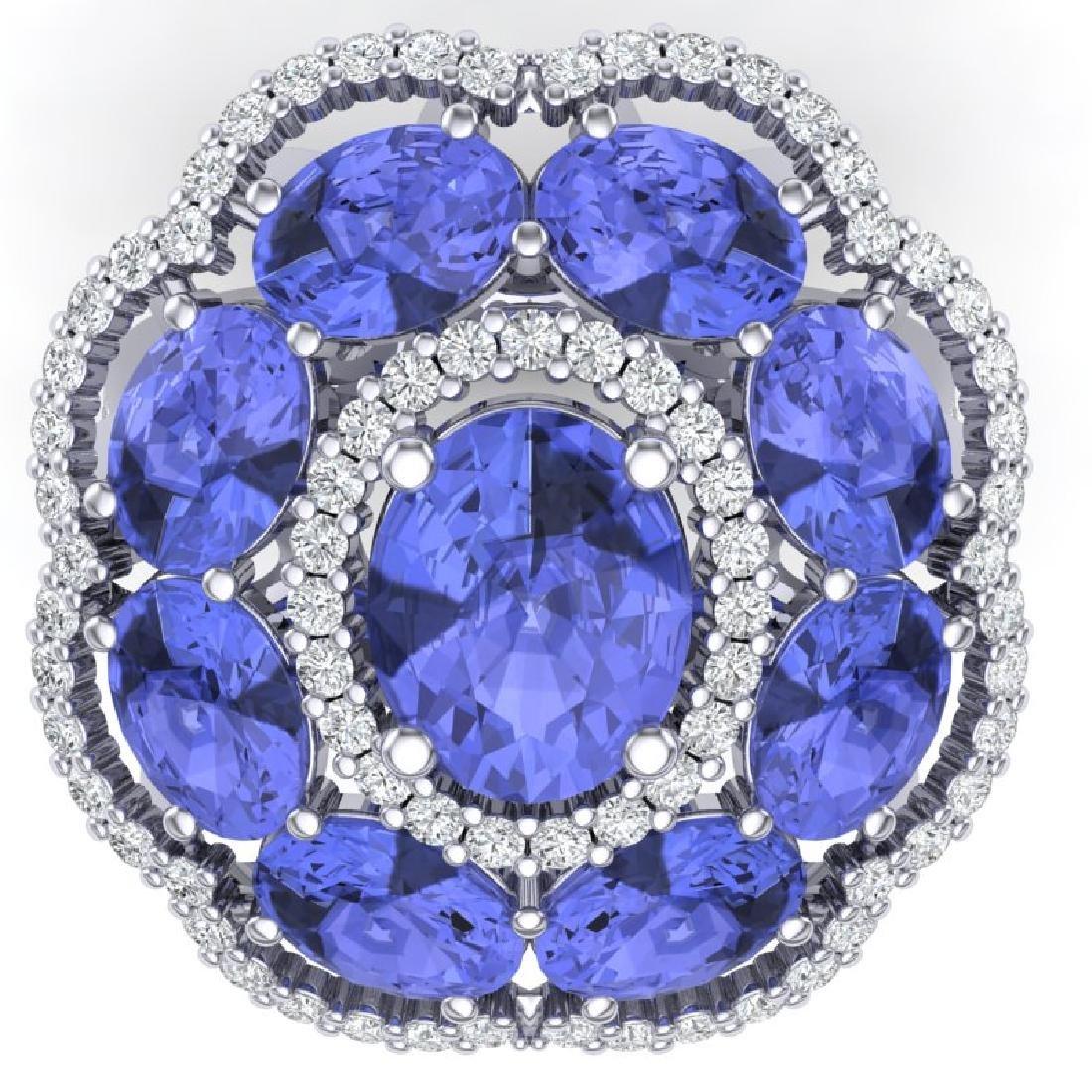 15.24 CTW Royalty Tanzanite & VS Diamond Ring 18K White - 2