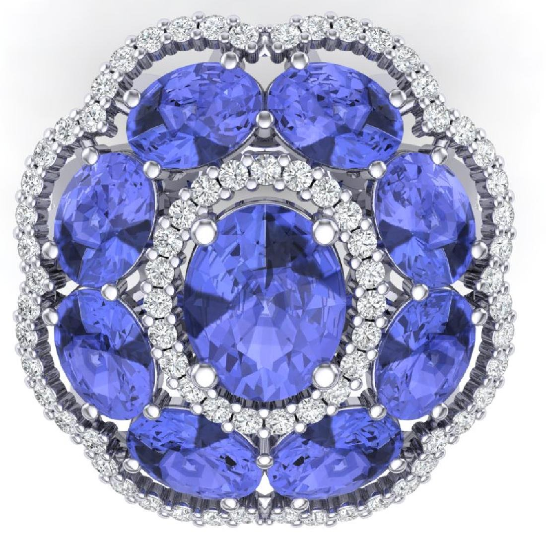 15.24 CTW Royalty Tanzanite & VS Diamond Ring 18K White - 2