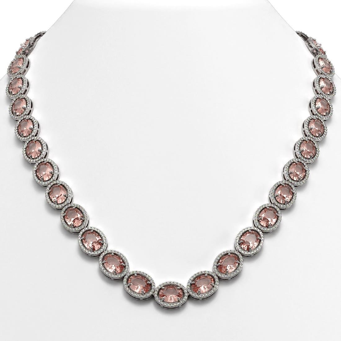 52.63 CTW Morganite & Diamond Halo Necklace 10K White
