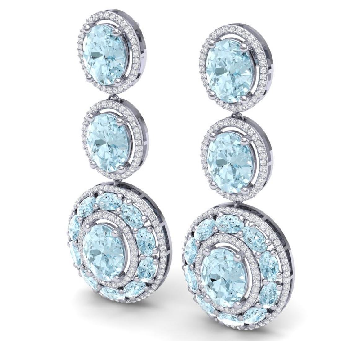 34.52 CTW Royalty Sky Topaz & VS Diamond Earrings 18K - 2